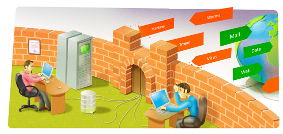 Office Firewall Illustration